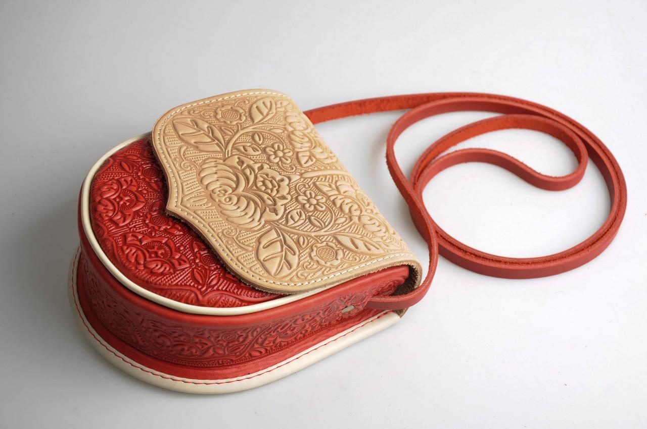 Кожаная женская сумка, сумка через плечо, мини сумочка, бежево-красная, фото 1