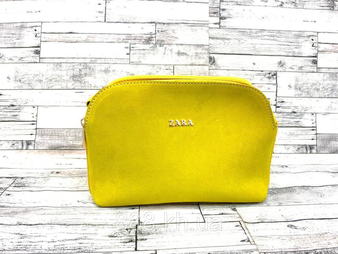 Женский замшевый клатч сумка Zara (желтый)