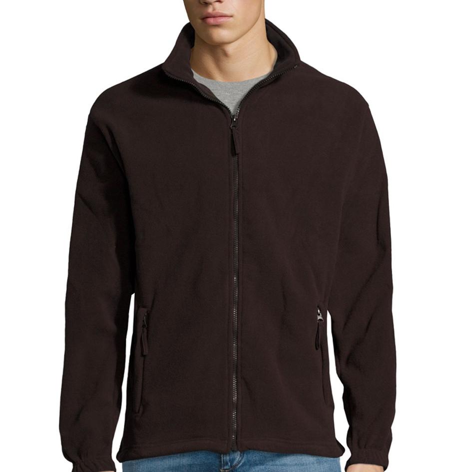 Мужская флисовая куртка NORTH MEN, черный шоколад, SOLS, размеры от XS до 3XL