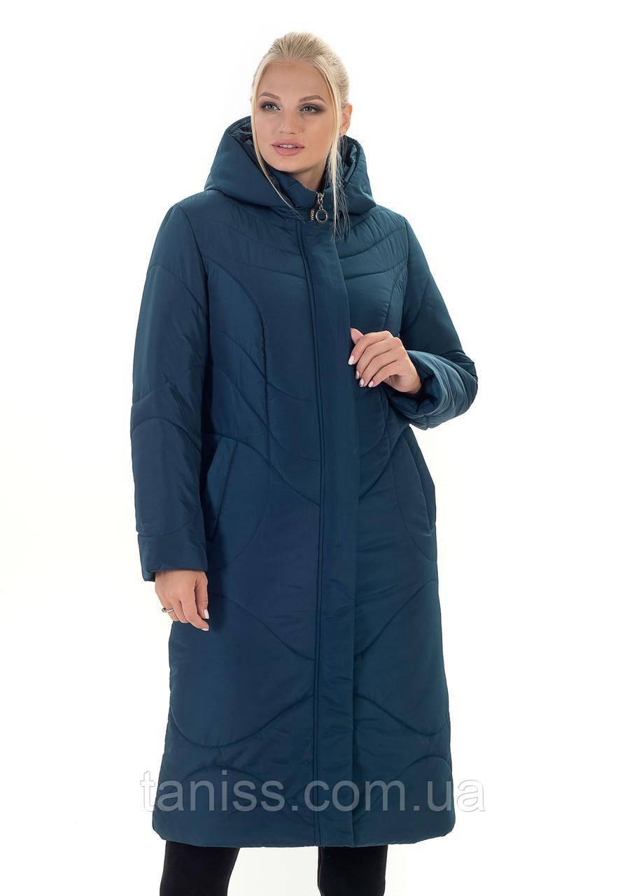 Зимняя женская куртка без меха, большого размера, рукав с трикотажной манжетой,р. с 52 по 66, малахит (135-1)