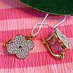 Серебряные серьги с позолотой Клевер - Серьги Клевера серебро с позолотой, фото 4
