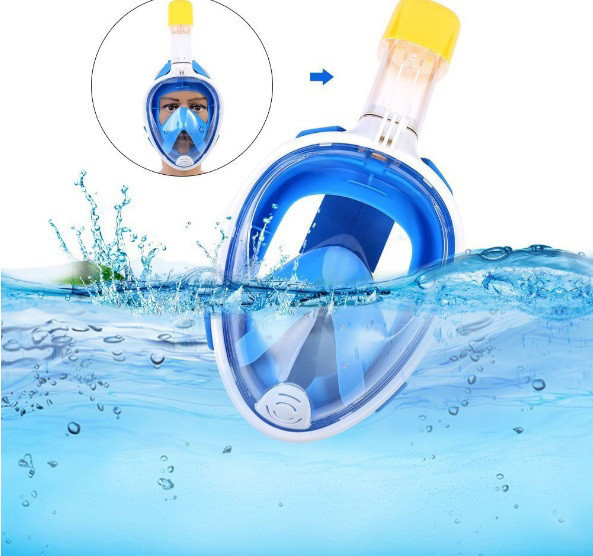 Маска на обличчя Tribord Easybreath для снорклінга, підводного плавання, Триборт Изибриз. репліка, синій колір