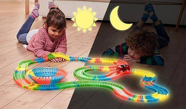 Magic Tracks гнущий светящийся трек 165 деталей, Меджик трек гоночная трасса, конструктор - подарок для детей , фото 3
