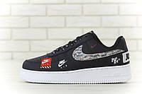 "Nike Air Force ""Just do it"" black / Мужские кроссовки Найк Аир Форс черные"
