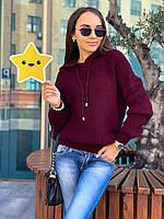 Вязанный свитер с капюшоном р. 42-48 марсал, фото 1