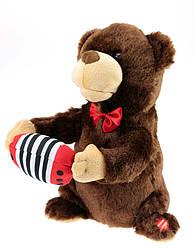 """Мягкая игрушка поющий медведь с гармошкой """"Никто тебя не любит так как я"""""""