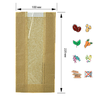 Бумажный Пакет Крафт с прозрачной вставкой 220х100х50/40мм (ВхШхГхШВ) 40г/м² 100шт (68)