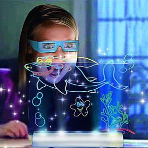 Сяюча електронна дошка для малювання, 3D дошка для малювання Magic Drawing Board, 3D набір для малювання