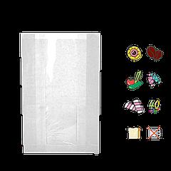 Бумажный Пакет Белый с прозрачной вставкой 240х120х50/40мм (ВхШхГхШВ) 40г/м² 100шт (56)