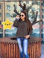 Вязанный свитер с капюшоном р. 42-48 капучино, фото 1