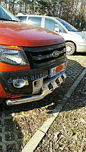 Защита переднего бампера труба с грилем Ford Ranger 2016-2019 Дуга с клыками хром для Ford Ranger 2016-2019