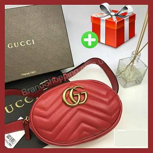 Женская поясная сумка на пояс в стиле Gucci. Бананка красная