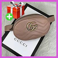 Женская поясная сумка на пояс в стиле Gucci. Бананка кремовая