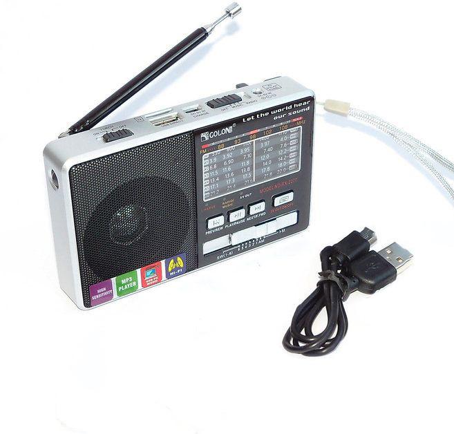 Радіоприймач c USB + microsd і акумулятором, Golon RX-2277, Срібло, з MP3 плеєром від флешки