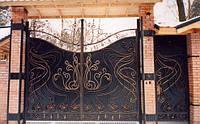 Ворота распашные кованные с калиткой