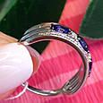 """Серебряное кольцо с золотом и синими камнями """"маркиз"""" - Кольцо дорожка с синими камнями, фото 4"""
