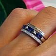 """Серебряное кольцо с золотом и синими камнями """"маркиз"""" - Кольцо дорожка с синими камнями, фото 5"""