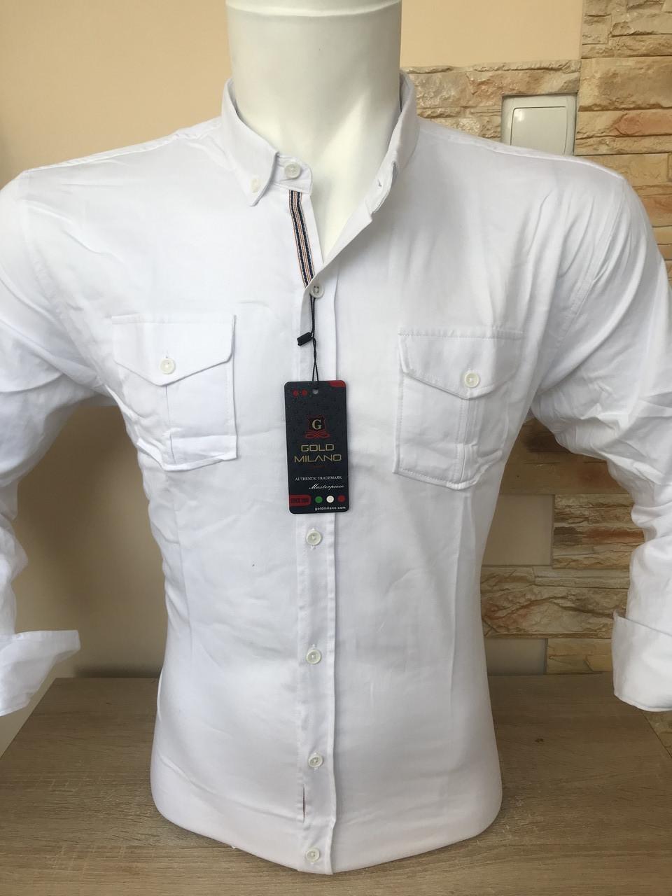 Стрейчевая однотонная рубашка Gold Milano