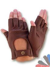 Автомобильные перчатки из натуральной кожи модель 484 без подкладки