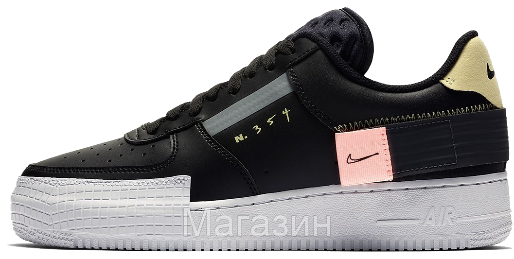 """Женские кроссовки Nike Air Force 1 Low Type N. 354 """"Black"""" CI0054-001 (Найк Аир Форс) черные"""