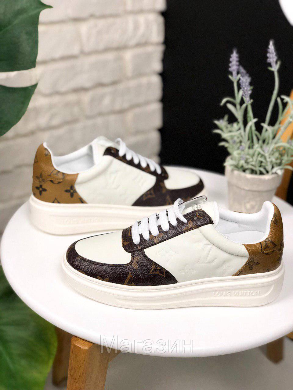 Женские кроссовки Louis Vuitton Sneakers Brown White (кеды Луи Витон) белые