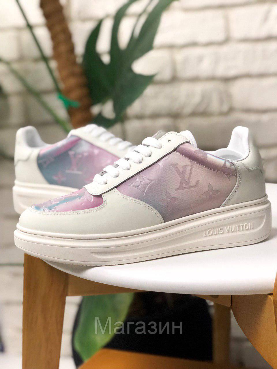 Женские кроссовки Louis Vuitton Sneakers Pink White (кеды Луи Витон) белые