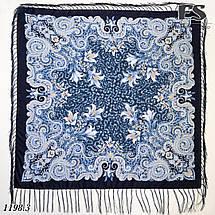 Тёмно-синий павлопосадский шерстяной платок Лилия, фото 3