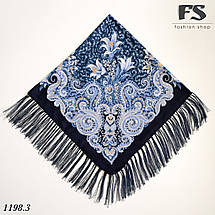 Тёмно-синий павлопосадский шерстяной платок Лилия, фото 2