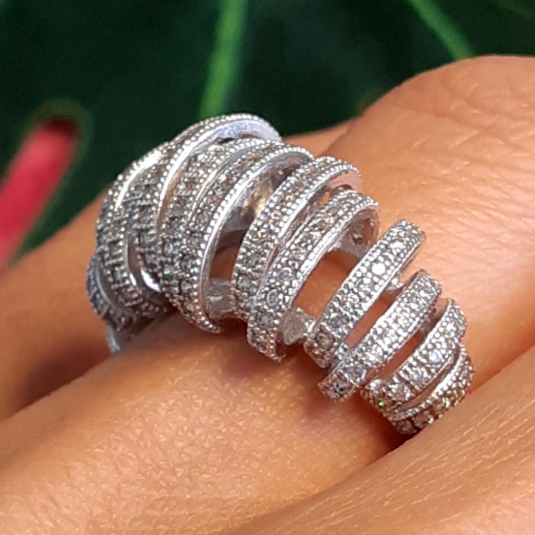 Серебряное родированное кольцо - Брендовое кольцо из серебра