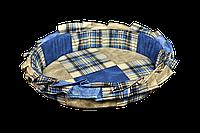 Лежак (лежанка) для кошек и собак (с рюшей) Мур-Мяу №2 Синий