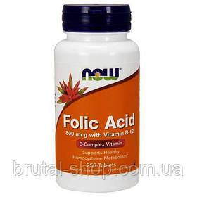 Now Foods Фолієва кислота з вітаміном B12 800 мкг (250tab)