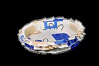 Лежак (лежанка) для кошек и собак (с рюшей) Мур-Мяу №2 Бежевый с синим