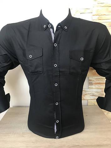 Стрейчевая однотонная рубашка Gold Milano, фото 2