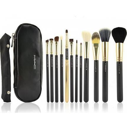 Набор кистей для макияжа MAС 12 штуки + чехол Черный (10038), фото 2