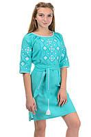 Платье с вышивкой цвет мята, фото 1