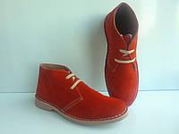 Замшевые женские ботинки из Испании Ortuno красного цвета, р 37,40