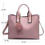 Модная женская сумка шоппер. Сумка тоут женская классическая (розовая), фото 2