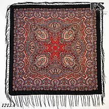 Чёрный павлопосадский шерстяной платок Регина, фото 2
