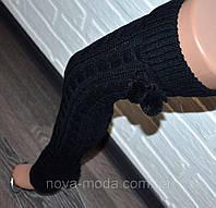 Классические черные шерстяные высокие женские гетры, вязанные, выше колена, с бубонами (помпонами)