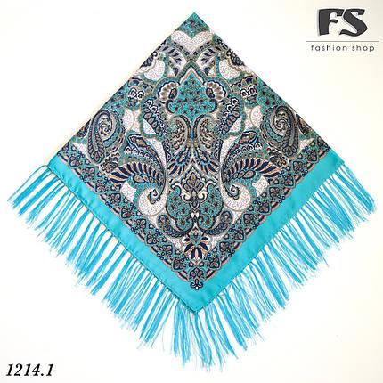 Бирюзовый павлопосадский шерстяной платок Валентина, фото 2