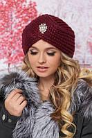 Красивая женская шапка-чалма с декором крупной вязки в 9ти цветах 4632