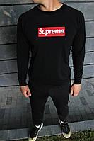 Мужской спортивный костюм в стиле Supreme черного цвета однотонный Демисезонный