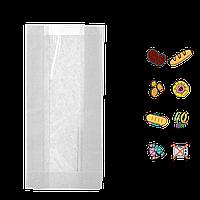 Бумажный Пакет Белый с прозрачной вставкой 290х140х50/60мм (ВхШхГхШВ) 40г/м² 100шт (66)