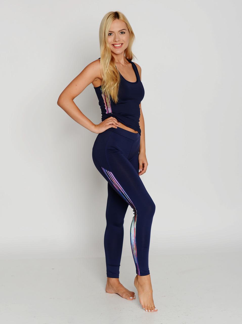 Спортивные женские легинсы BasBlack Cosmic blue (original), лосины для бега, фитнеса, спортзала