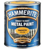 HAMMERITE гладкая краска по металлу антикоррозионная, чёрная, 0,75л