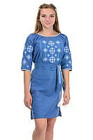 Платье с вышивкой цвет джинс, фото 1