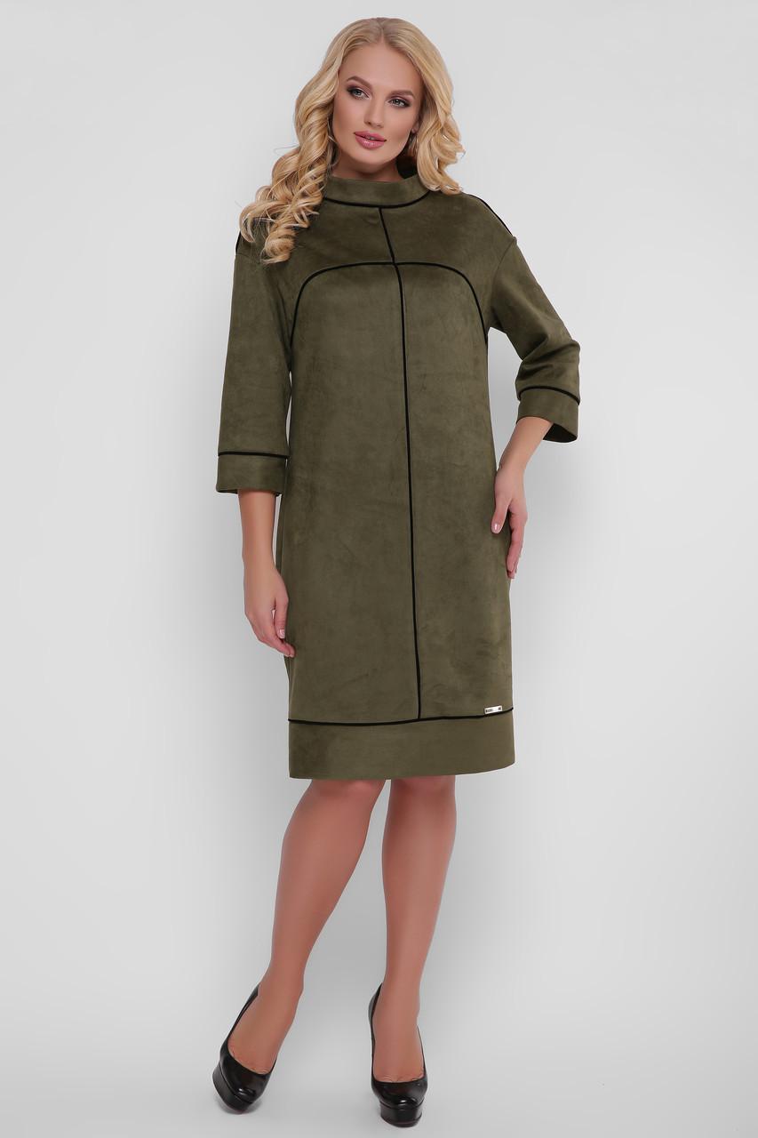 Стильное платье Мишель экозамша оливка
