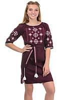 Платье с вышивкой цвет бордо, фото 1