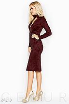 Платье облегающего кроя выполненное из эко-замши на эластичной основе цвет марсала, фото 2