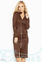 Платье облегающего кроя выполненное из эко-замши на эластичной основе цвет марсала, фото 3